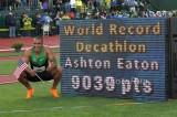 Ashton Eaton with World Record board by Photo Run