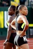 Michael Heiman/Getty Images Jeneba Tarmoh, left, and Allyson Felix finished in a dead heat for third place in the women's 100 meters on June 23.