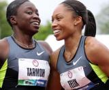 By Christian Petersen, Getty Images Jeneba Tarmoh, left, and Allyson Felix are scheduled to run Monday night to decide the final Olympic spot in the women's 100-meter dash.