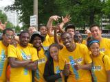 D1 Southern Illinois Carbondale Mens XC - Cougars Volunteer at GO! St. Louis Marathon