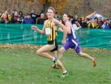 Nick Hess of Champaign St. Thomas More finishing at the 2012 Class 1A Boys State Cross Country Meet. (Photo Credit: Beth Scheid).