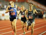 Robert Domanic nips Trevor Gilley in the 5A 1600. Photo by Bert Richardson.