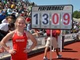 Desiree Freier celebrates her state record 13-9 PV in 5A. Photo by Bert Richardson.