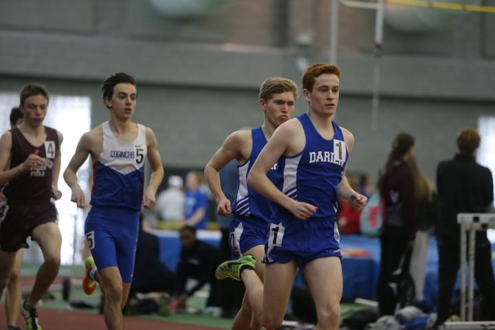 Alex Ostberg and Armstrong Noonan of Darien discuss their races at the 2015  Connecticut CIAC Indoor State Championships - DyeStat